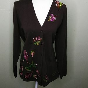 Quacker Factory Brown Cardigan with Sequin Leaves